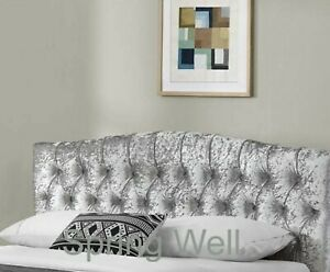 """Grey Silver Luxury Crushed Velvet Dews Buttoned Studded Bed Headboard 26"""" Tall"""