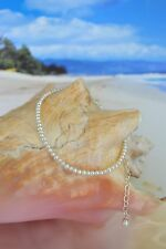 Silver Anklet 8 to 11 inches Freshwater White Pearl & Italian .925 Sterling