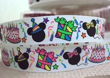 "BTY 7/8"" Minnie Mouse Birthday Party Grosgrain Ribbon Hair Bows Lanyards Lisa"