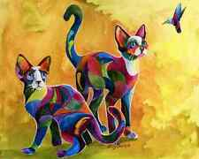 Watch The Birdie 8x10 Devon Rex Cat print by Artist Sherry Shipley