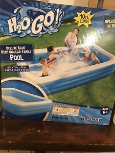 BRAND NEW In The Box H2OGO DELUXE BLUE RECTANGULAR POOL 10FTx6FTx22IN