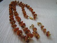 Vintage Demi Long Orange Agate Stone Nuggets with Goldtone Beads Necklace & Clip