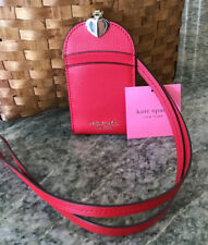 KATE SPADE NWT  Sylvia Lanyard ID Badge Holder RED Leather