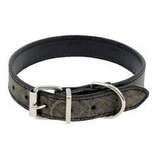 Black Metallic Paisley PU Leather Dog Collar Small-Medium