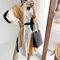 2020 Womens  Designer Inspired Color Blocks Loose Fit Asymmetric Dress