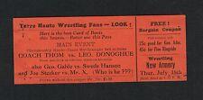 VERY RARE wrestling ticket Joe Stecker Swede Hanson Gable Donoghue Terre Haute