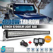 52 inch 4600W LED Offroad Light Bar Driving Spot Flood Combo 4WD & 18w Pods Lamp