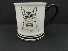 Clay Art Cat Mug Glasses Bow Tie Gold Accents Cute