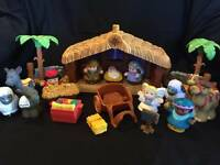 Little People Nativity Scene Christmas Manger Set Fisher Price Music Lights Lot