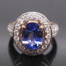 SOLID 18K ROSE GOLD NATURAL VIOLET BLUE TANZANITE ENGAGEMENT DIAMOND RING