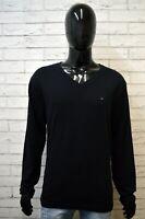 Maglione Nero Uomo TOMMY HILFIGER Taglia 2XL Pullover in Cotone Cardigan Sweater