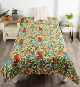 Frida Kahlo Kantha Quilt Indian Handmade Throw Reversible Blanket Bedspread Twin