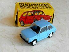 Vintage Blue Polski FIAT 126P Plastic Car Toy 1/43 made from Estetyka + Box