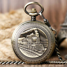 Steam Train Pocket Watch Hand Winding Mechanical Fob Watch Chain Luxury Gift