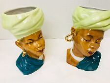 Ethnic Women and Man Bust Heads Large Gold Earrings Made in Japan 6 X 3 X  31/2