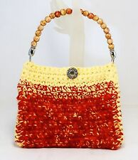 FUZZY HAND CROCHET KNIT PURSE RED YELLOW SUMMER HANDBAG LINED W/WOOD BEAD HANDLE