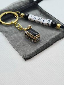 Personalised black camper van Keyring, traveller gifts, caravan keyring
