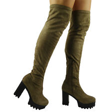 WOMENS LADIES OVER THE KNEE THIGH HIGH ZIP STRETCHY CHUNKY HEEL BOOTS SHOE SIZE