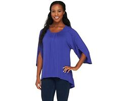 Lisa Rinna Collection Knit Top with Button Sleeve Detail Size XXS NWT QVC $56.00