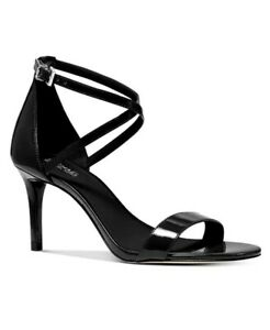 Women MK Michael Kors Ava Mid Sandal Patent Leather Black