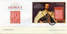 St Helena 2010 FDC George V Philatelist King London 2010 1v M/S Cover Stamps