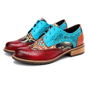Women Bohemian Oxford Shoes Wingtip Heels Ankle Blue Booties Brogue Shoes