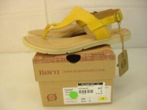 NIB Women's 7 M Born Taylor Yellow Thong Sandals Slingback Leather Buckle Flat