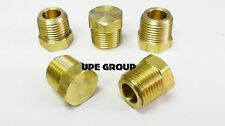BRASS CORED HEX PLUG MALE 3/8  NPT THREADS PIPE FITTING AIR WATER BOAT  QTY 5