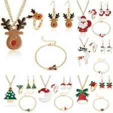 Women Charm Christmas Elk Tree jewelry Necklace Earrings Bracelet Ring Set Party