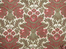 Fabric Antique French embroidered look roller printed floral green & red c1890