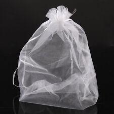 50 pcs 20x30cm Pochettes Sachets Cadeau Organza Blanc Mariage Fête