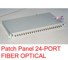 24-PORT FIBER OPTICAL PATCH PANEL 1U TOP CONDITION -B103