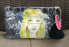 Boho Gypsy Navy Tulum Sun Papaya Art Makeup Cosmetic Bag Vegan Clutch Purse