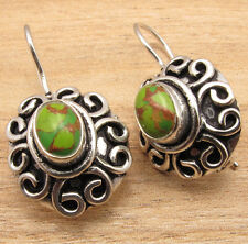 925 Silver Plated GREEN COPPER TURQUOISE Latest Fashion Earrings ONLINE SHOPPING