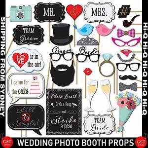 Wedding Photo Booth Props Kit Bridal Shower Bachelorette Party Supplies 31pc Set