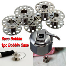 Set of 5 Bobbin + 1 Bobbin Case For BROTHER JANOME SINGER Sewing Machine Parts