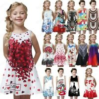 Child Toddler Girl Summer Princess Dress Kid Baby Print Party Sleeveless Dress A