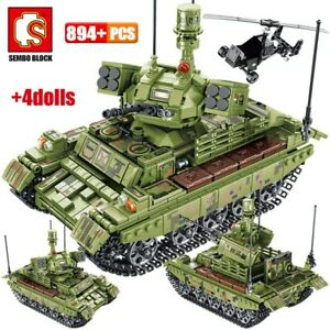894pcs Military Panzer Tank Model Building Blocks WW2 Helicopter City Truck