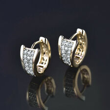 HUCHE Silver & Gold Filled Huggies Pave Diamond Clear Topaz Lady Wedding Earring