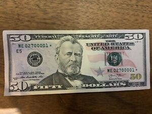 Currency 2013 $50.00 Fifty Dollar Bill. *STAR* Serial Number ME02700001*