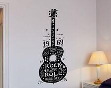 "ROCK AND ROLL GUITAR Music Retro Hard Hippies Vinyl Wall Decal Sticker Decor 36"""
