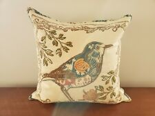 "Pottery Barn Pillow Cover Embroidered Anna Marie Bird 20"" Square w/insert"