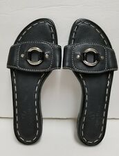 Cole Haan Air Size 7 B Black Flat Slides Silver Ring Accent EUC