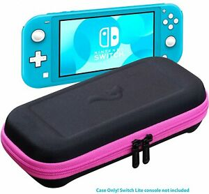 Nintendo Switch LITE Pink Slim EVA Hard Travel Case Cover With 8 Game Storage
