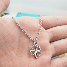 Four-leaf clover Necklace,Silver handmade necklace,Fashion charm jewelry pendant