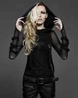 Punk Rave Evestus Hooded Top Womens Black Mesh Gothic Punk Hoodie