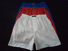 3 Pairs Thai Silk Boxer Shorts Red - White - Blue Underwear Sleepwear L