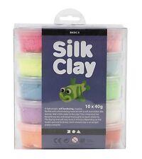 Creativ 10 x 40 g Silk Clay Assorted Colours Basic 2 Set, Kids, Adult Gift Ideas