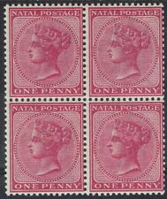 NATAL 1882 QV 1D MNH ** BLOCK WMK CROWN CA
