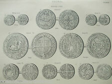 ANTIQUE PRINT C1880'S COINS ENGRAVING ENGLISH COINS ILLUSTRATED MONEY HISTORY